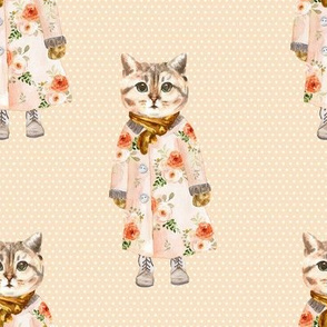 """8"""" Miss Kitty without Glasses White Polka Dots with Peach Back"""
