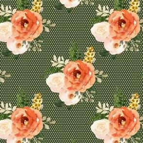 "4"" Parisian Autumn Bouquet White Polka Dots Olive Back"