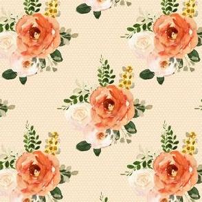 """4"""" Parisian Autumn Bouquet White Polka Dots Peach Back"""
