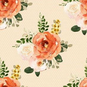 """8"""" Parisian Autumn Bouquet White Polka Dots Peach Back"""