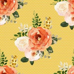 """8"""" Parisian Autumn Bouquet White Polka Dots Yellow Back"""