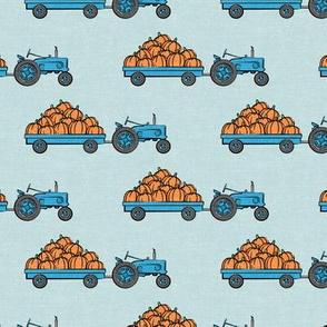 Pumpkin Patch -  blue tractor (on blue) pulling pumpkins - LAD19