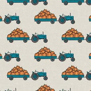 Pumpkin Patch - teal tractor (on tan) pulling pumpkins - LAD19