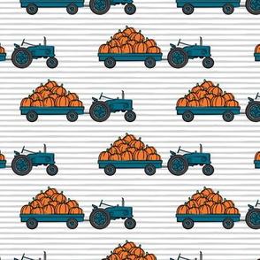 Pumpkin Patch - teal tractor (on stripes) pulling pumpkins - LAD19