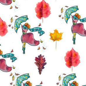 Watercolor hand drawn  autumn wind   pattern design