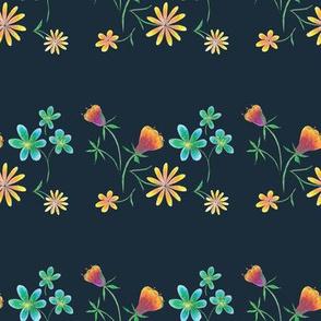 Dark Teal Spring Pencil Flowers