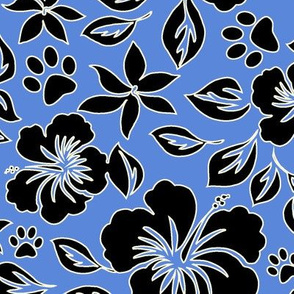 Paw Print Hawaiian Hibiscus - CornflowerBlue