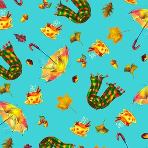 Watercolor hand drawn  autumn pattern design