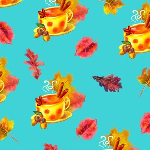 Watercolor hand drawn  autumn  leaves  pattern design