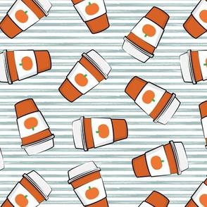 Pumpkin Spice - Coffee Cups - Latte on blue stripes - Pumpkin fall drink - LAD19