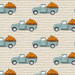 fall vintage truck - pumpkins - dusty blue on tan stripes - LAD19