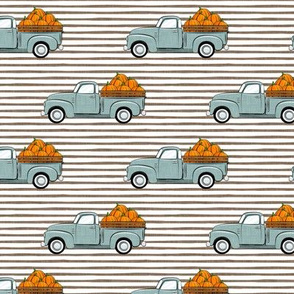 fall vintage truck - falling pumpkins - dusty blue on stripes - LAD19