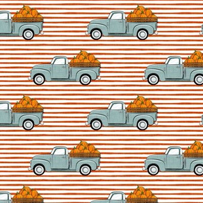 fall vintage truck -  pumpkins - dusty blue on orange stripes - LAD19