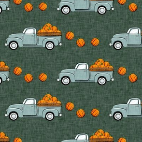 fall vintage truck - falling pumpkins - dusty blue on green - LAD19