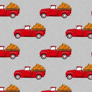 fall vintage truck - pumpkins - red on grey - LAD19