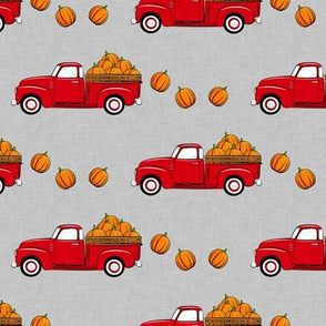 fall vintage truck - falling  pumpkins - red on grey - LAD19
