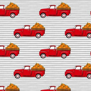fall vintage truck - pumpkins - red on grey stripes - LAD19