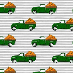 fall vintage truck - pumpkins - green on grey stripes  - LAD19