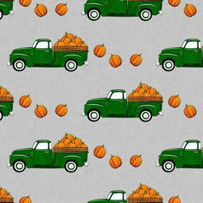 fall vintage truck - falling pumpkins - green on grey - LAD19