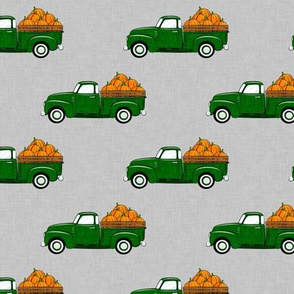 fall vintage truck - pumpkins - green on grey - LAD19
