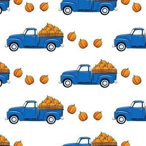fall vintage truck - falling  pumpkins - blue  - LAD19