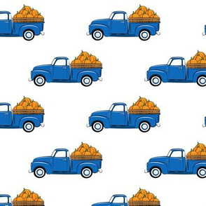 fall vintage truck - pumpkins - blue  - LAD19