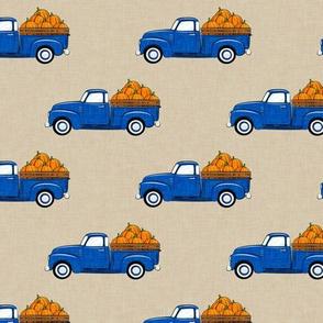 fall vintage truck - pumpkins - blue on tan -  LAD19