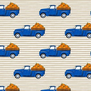 fall vintage truck - pumpkins - blue on tan stripes - LAD19