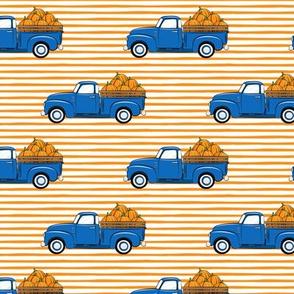 fall vintage truck - pumpkins - blue on orange stripes - LAD19