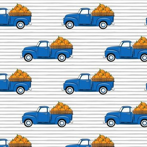 fall vintage truck - pumpkins - blue on grey stripes - LAD19