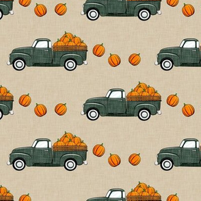fall vintage truck - falling pumpkins - sage on tan  - LAD19