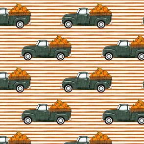 fall vintage truck - pumpkins - sage on orange stripes - LAD19