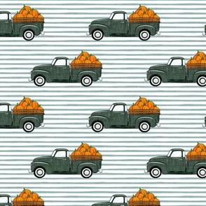fall vintage truck - pumpkins - sage on blue stripes - LAD19