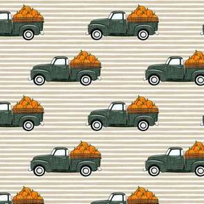 fall vintage truck - pumpkins - sage on tan stripes - LAD19