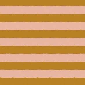 horizontal stripes - gold and dusty blush, large scale