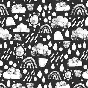 Sunshine and rain showers - black and white