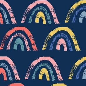 grunge rainbows on dark blue - large scale