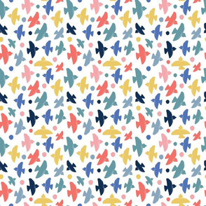 Birds and spots on white - Small scale