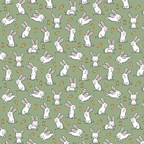 Bunnies Rabbits & Carrots On Olive Green Smaller Tiny 1 inch