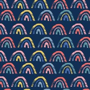 grunge rainbows on dark blue - small scale