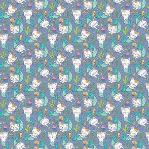 Purrmaids Cats Mermaids  Sea Doodle Mint on Dark Blue Navy Tiny Small 1 inch