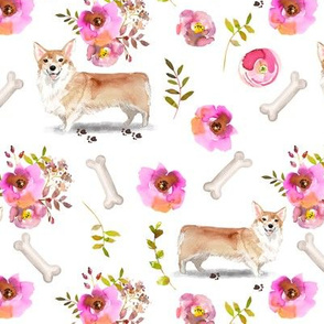"7"" Pembroke Welsh Corgi dog summer flower fabric, corgi fabric, animal fabric"