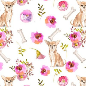"7"" Chiwawa dog summer flower fabric, Chiwawa fabric, animal fabric"