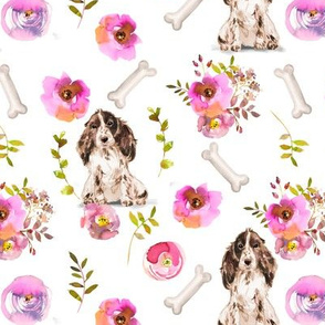 "7"" Spaniel dog summer flower fabric, Spaniel fabric, animal fabric"