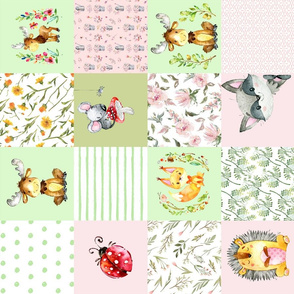 """18"""" Woodland Friends - Little flowers and wild Animals Patchwork - baby girls quilt cheater quilt fabric - forest animals flower fabric, baby fabric, cheater quilt fabric"""