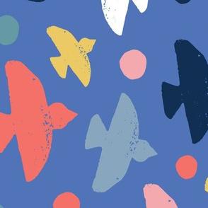block print birds on blue - large scale