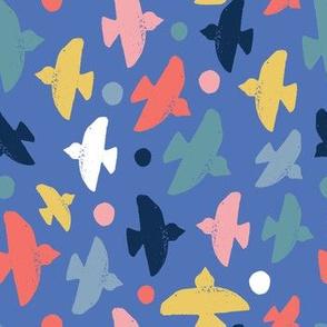 block print  birds on blue - small scale