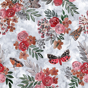 Flowers on grey marbled watercolor background with various moths