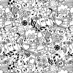Doodles white large