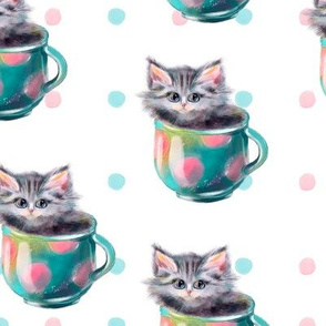 Cute kittens watercolor hand drawn pattern design